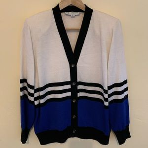 ST. JOHN By Marie Gray Knit Striped Cardigan Small